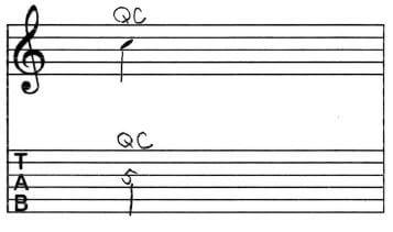 クオーター・チョーキング:Tab譜